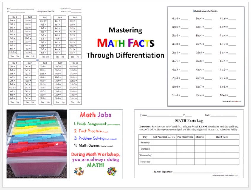 Mastering Math Facts Package